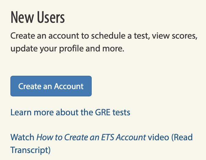 Create a new account for the GRE registration
